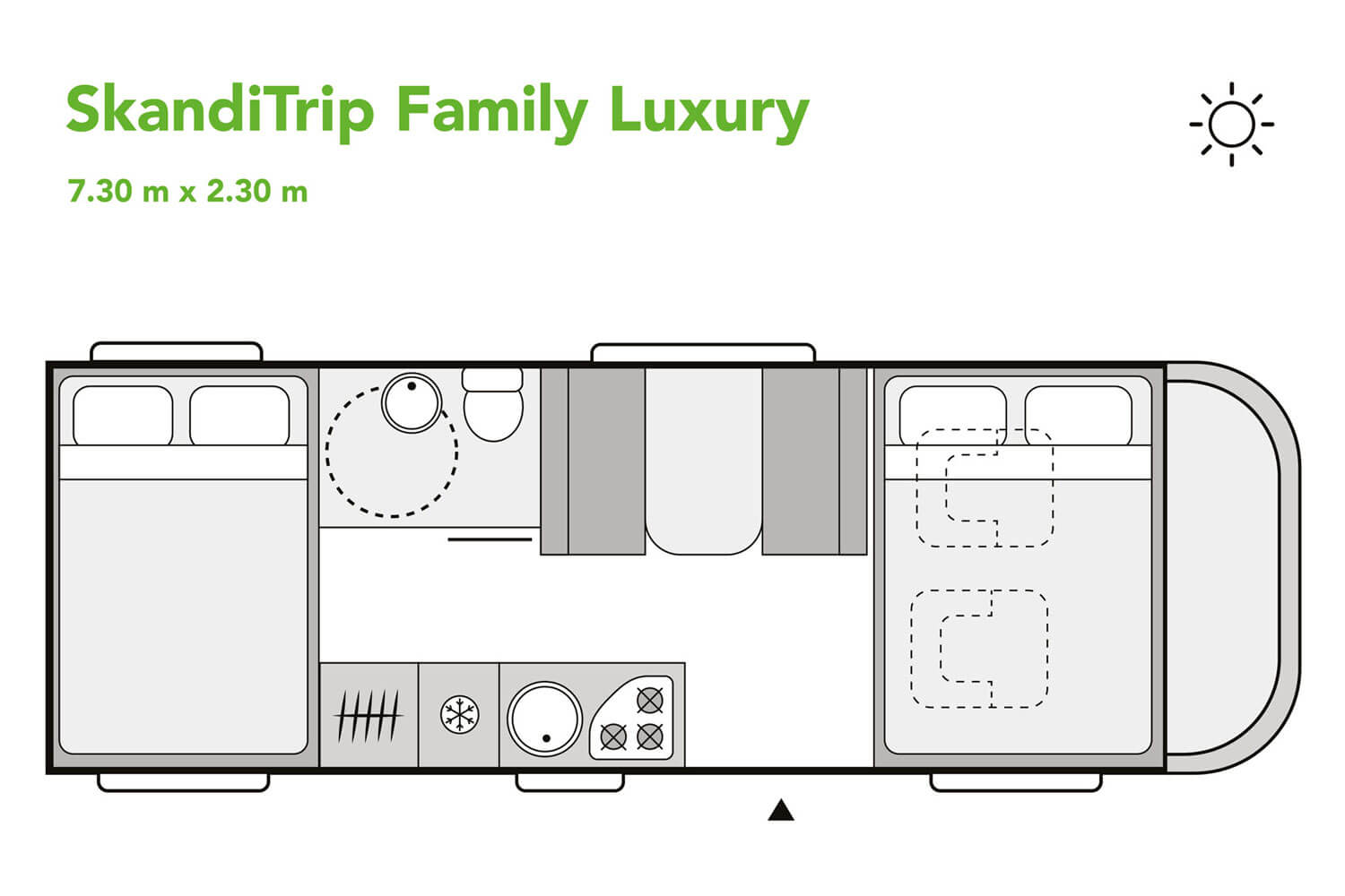 SkandiTrip family luxury motorhome daytime blueprint