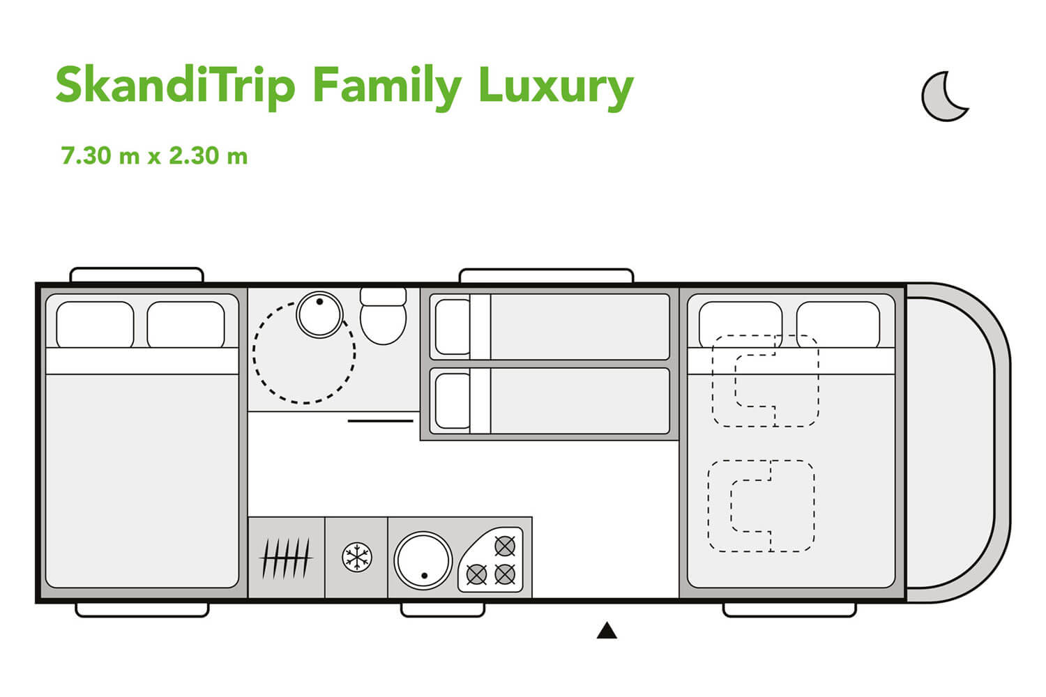 SkandiTrip family luxury motorhome night time blueprint