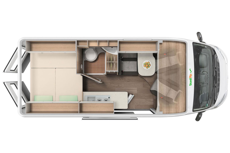 SkandiTrip petit camping car comfortable living room section