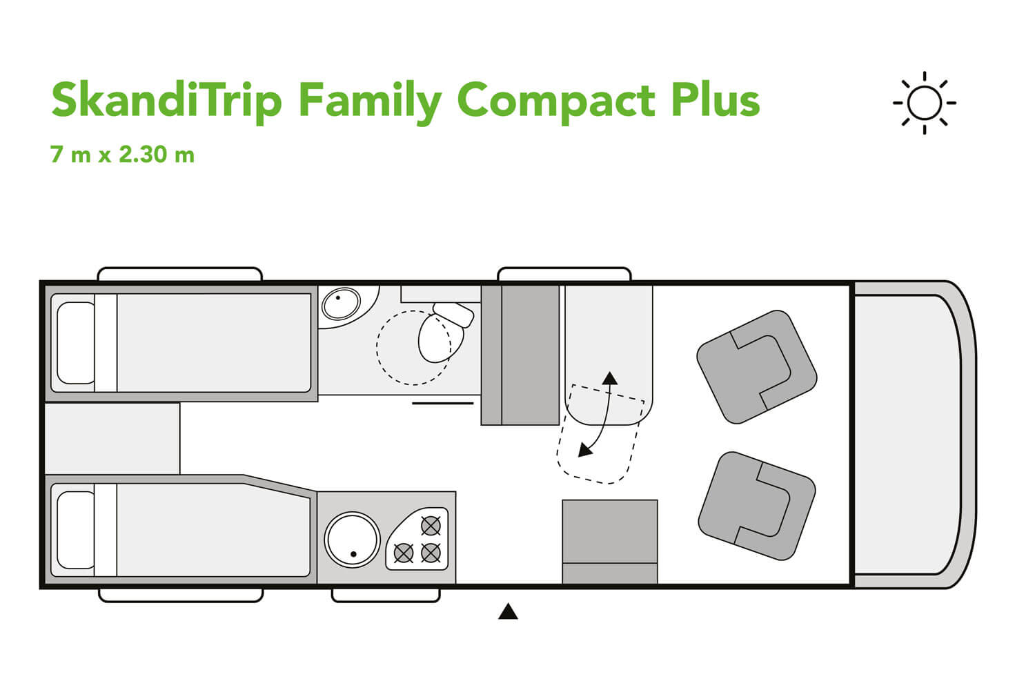 SkandiTrip small motorhome nighttime blueprint